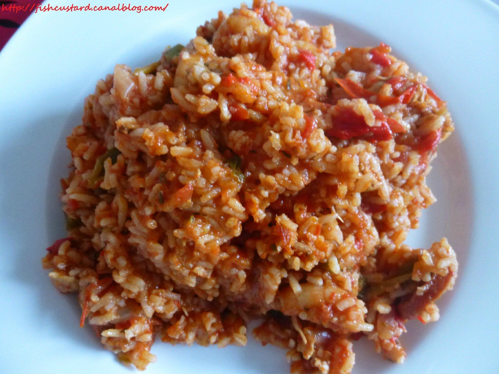 Jambalaya poulet-chorizo-crevettes