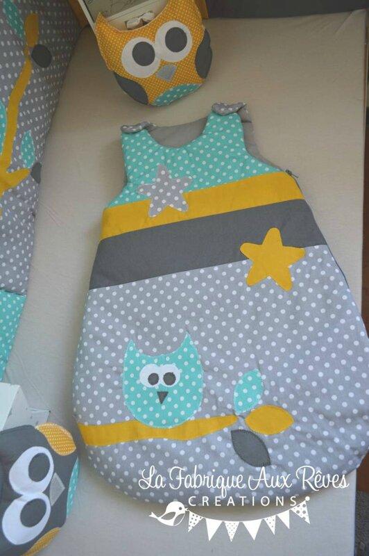gigoteuse naissance bébé bébé turquoise gris foncé gris clair jaune moutarde