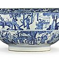 A large and fine blue and white 'western chamber' bowl, qing dynasty, kangxi period (1662-1722)