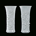 Pair of Blanc de Chine porcelain trumpet vase, China, Dehua, Qing Dynasty, end 17th century