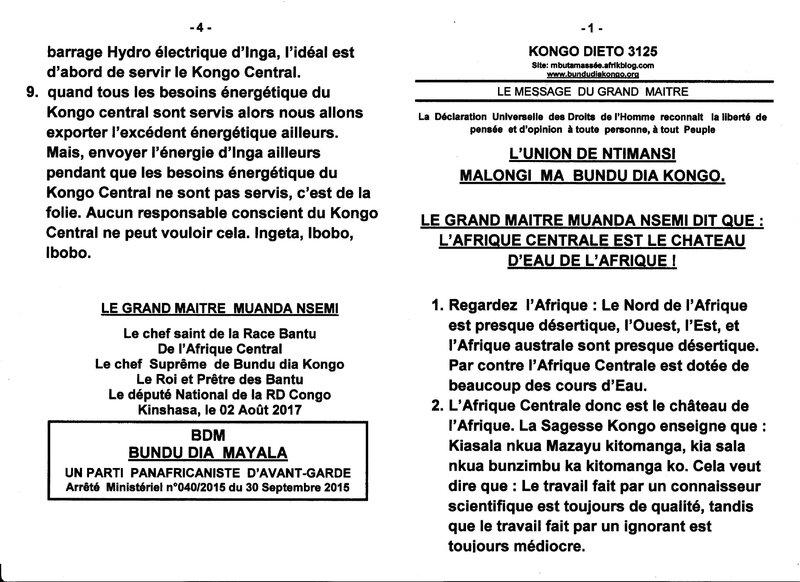 LE GRAND MAITRE MUANDA NSEMI DIT QUE L'AFRIQUE CENTRALE EST LE CHATEAU D'EAU DE L'AFRIQUE a