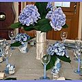 Table aux hortensias