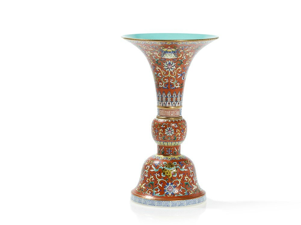 Coral Ground 'Ba Jixiang' Vase 'Gu', Qianlong Mark and Period