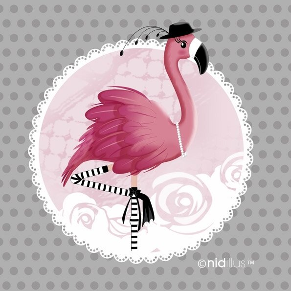 coupon nidillus flamant rose gris72