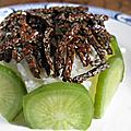 Allumettes de graines de lin et riz au radis vert