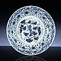 An early Ming blue and white 'Grapes' dish, Yongle period (1403-1425)
