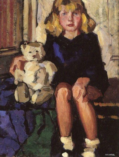 Lempicka portrait d'une fillette avec son ourson c