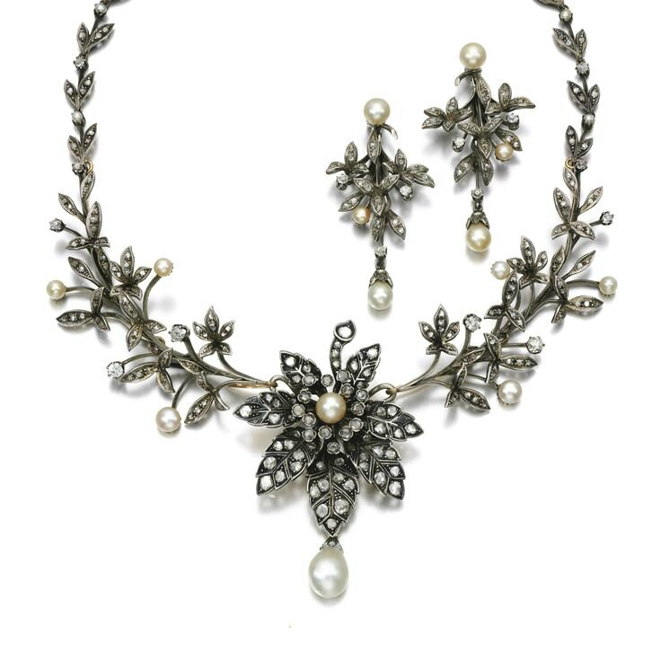 Natural pearl and diamond tiara-necklace and pair of earrings, late 19th century