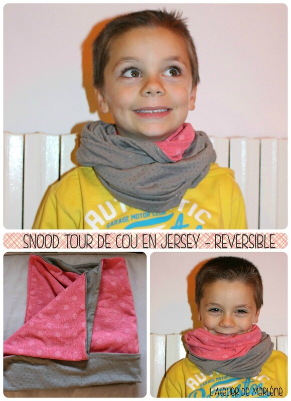 Snood Amandine tour de cou rose et gris