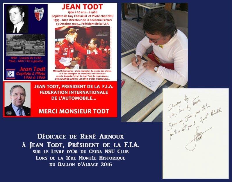 René Arnoux Dédicace sur le Livre d'Or du Ceida NSU Club