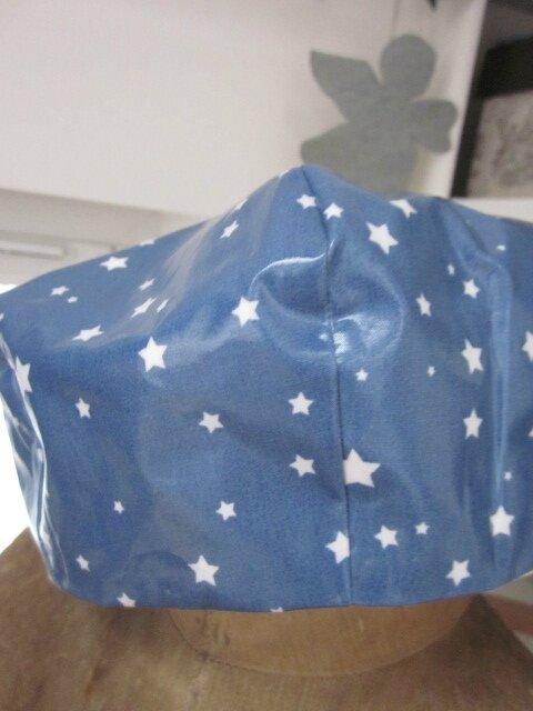 Chapeau de pluie AGATHE en coton enduit bleu parsemé d'étoiles blanches (1)
