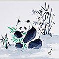 Aquarelle 14x20-18x24cm Panda et bambous [2]