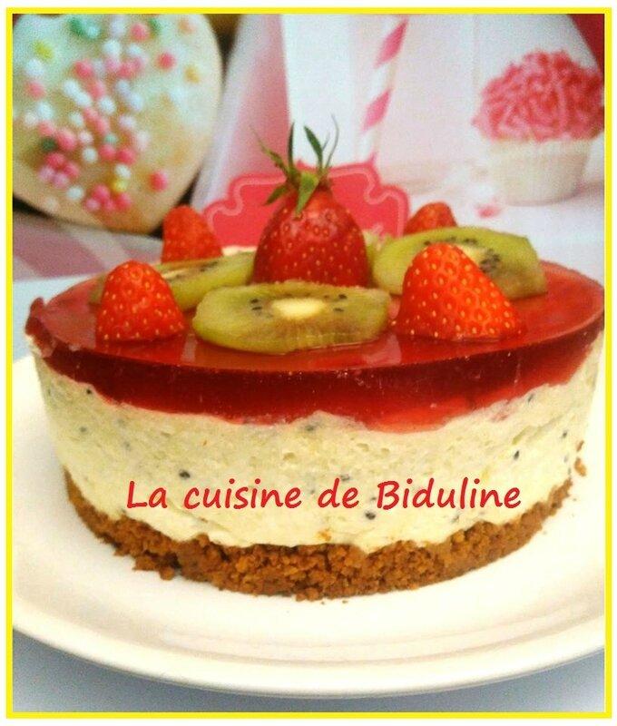 Mon entremets aux kiwis et aux fraises - La cuisine de Biduline