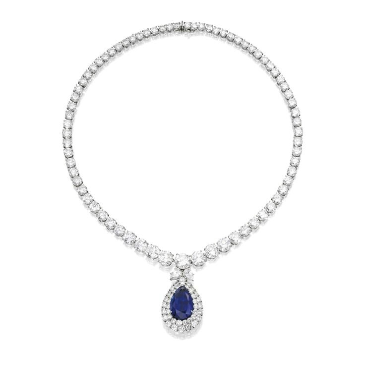Platinum, Sapphire and Diamond Necklace, Harry Winston Lot Sotheby's