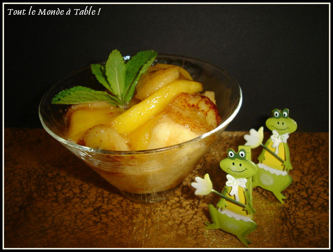 coupe glacée fruits de la passions aux mangues et bananes caramélisées
