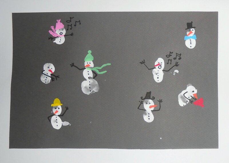 activité-manuelle-empreintes-doigts-bébé-enfants-peinture-bonhomme-neige-hiver-facile