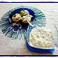 tzatziki au concombre et radis sur blinis.......