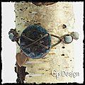 Bracelet style rustique - cuivre émaillé, cuir et bois -