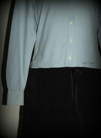 Transformation chemise en robe détail devant