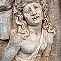 Roman relief sculpture of a female captive. aphrodisias archaological museum, turkey