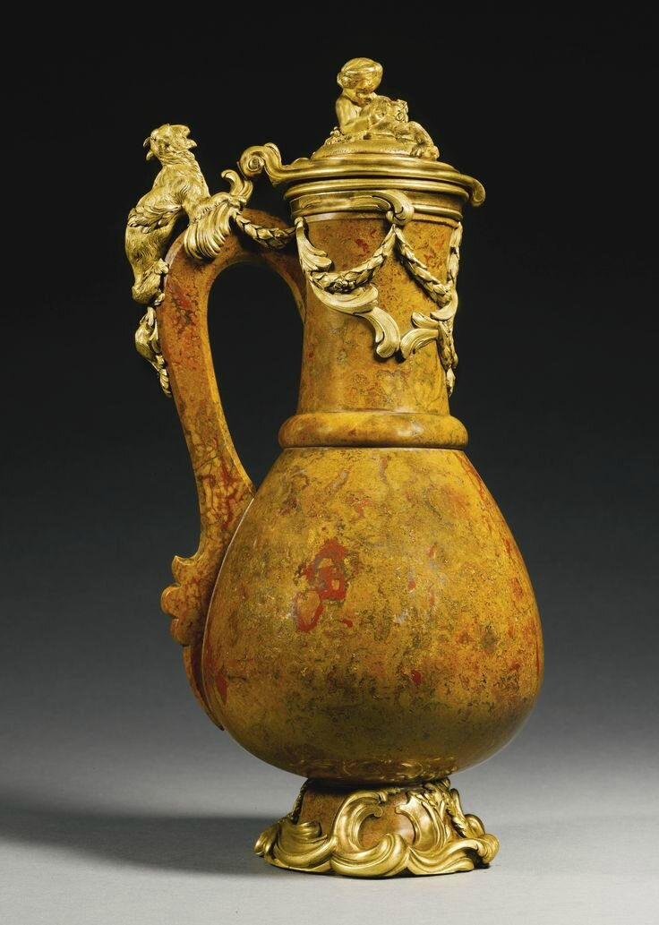 A Louis XV gilt-bronze-mounted jasper ewer, circa 1740