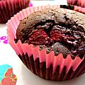 Des cupcakes brownies au chocolat intense et  la framboise ou ma culino-version des brownies