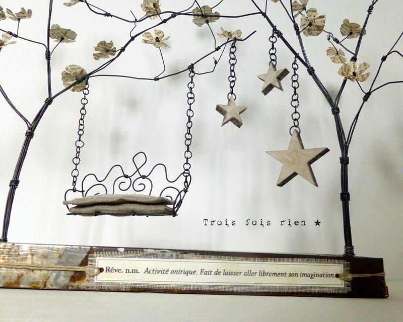 Un p'tit coin pour rêver, fil de fer, bois, papier, lin, métal, sculpture fil de fer, arbre fil de fer (8)