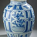 Grande jarre en porcelaine bleu blanc. Chine, dynastie Ming, poque Wanli (1573-1619)