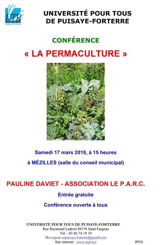 Affiche conférence de Pauline Daviet 17-03-18