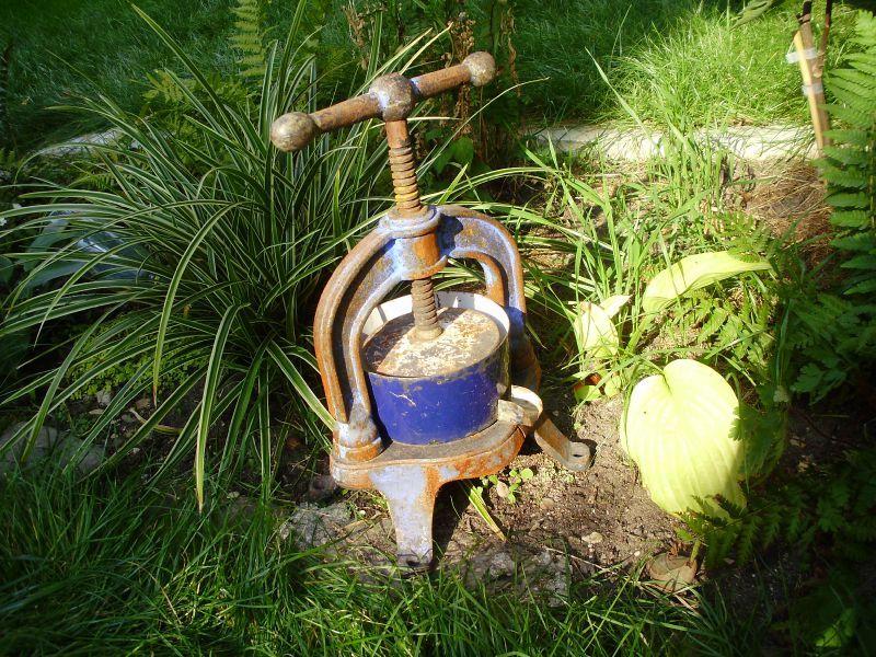 Pressoir ancien en fonte bol en tole maill e bleu for Ancien pressoir de la maison jaune