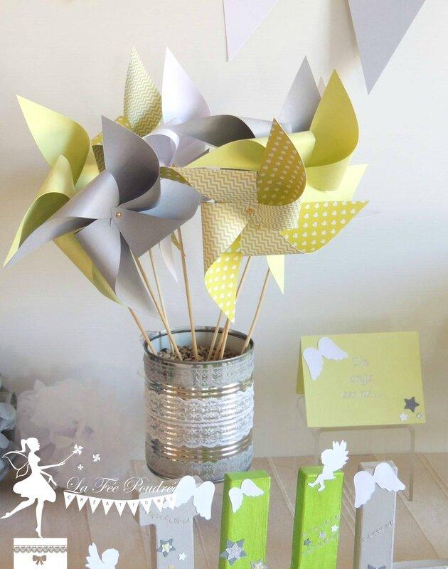 moulin a vent decoration bapteme theme ange etoile vert anis gris blanc faire part lettres prenom decorees pompon2