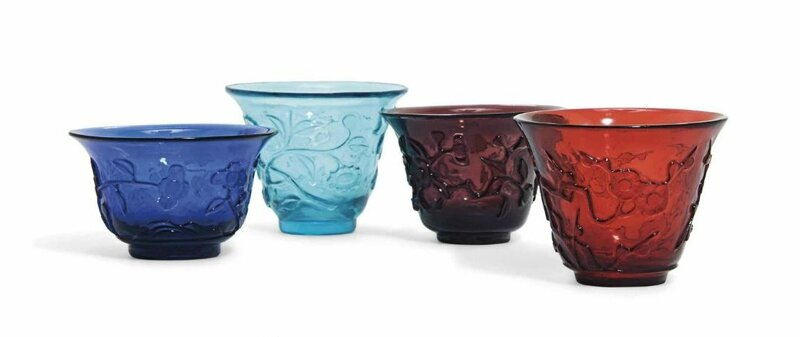 Four Chinese transparent carved glass cups, 19th century or later