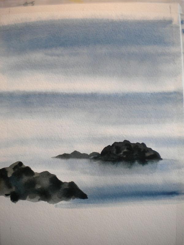 peindre rocher aquarelle