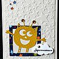 carte d'anniversaire garçon avec monstre rigolo jaune