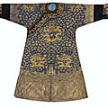 An exceptional imperial gold-and-silver-embroidered 'twelve symbol'  semi-formal 'dragon' robe, jifu, qing dynasty, jiaqing peri