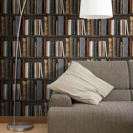 papier-peint-intisse-bibliotek-multicouleur