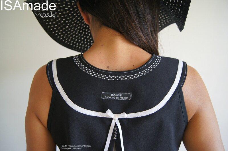MOD 385C Robe Trapèze Graphique Noir blanc Chic créateur made in France