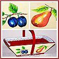 Panier à fruits bois peint fruits et dentelle 4