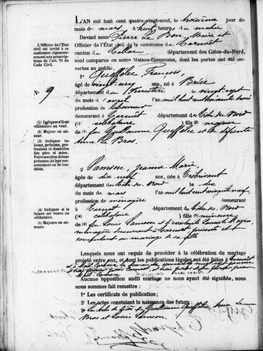Mariage Carnoet le 3 mars 1889_2