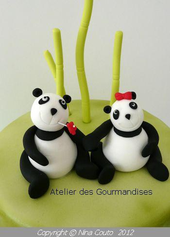 Top Gâteau Panda, modelages en pâte à sucre - Atelier des Gourmandises TQ49