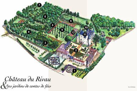 Plan des 12 Jardins du Château du Rivau