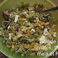 Salade de pâtes, thon, maïs et féta