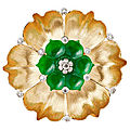 Buccellati, broche en or, diamants et jade