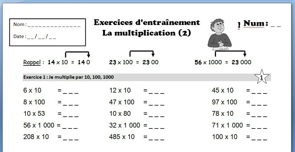 Multiplications tous les messages sur multiplications for Exercice multiplication cm1