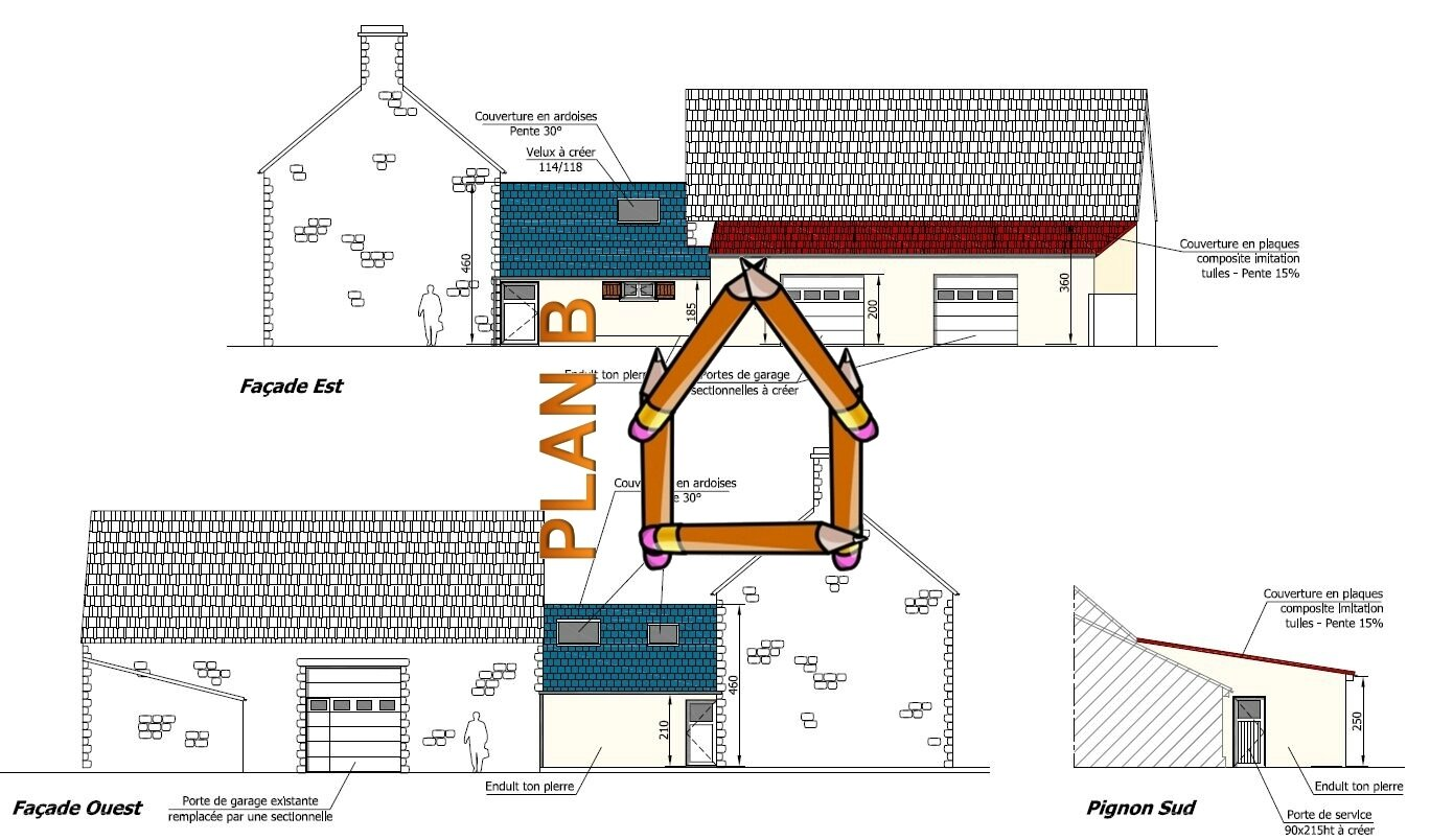 Cr ation d 39 un garage et modification de couverture plan b for Creation plan maison