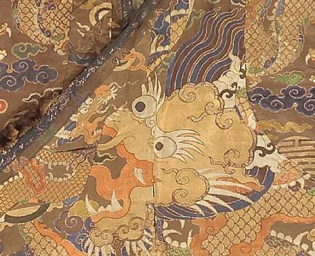 A_Tibetan_chuba_of_Chinese_brocade_silk_with_fur_trim_