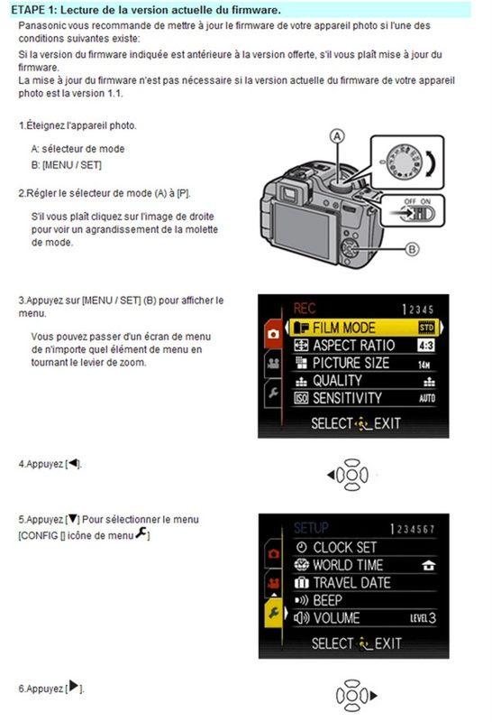 Nouveau firmware 1.1 du 25-10-2010