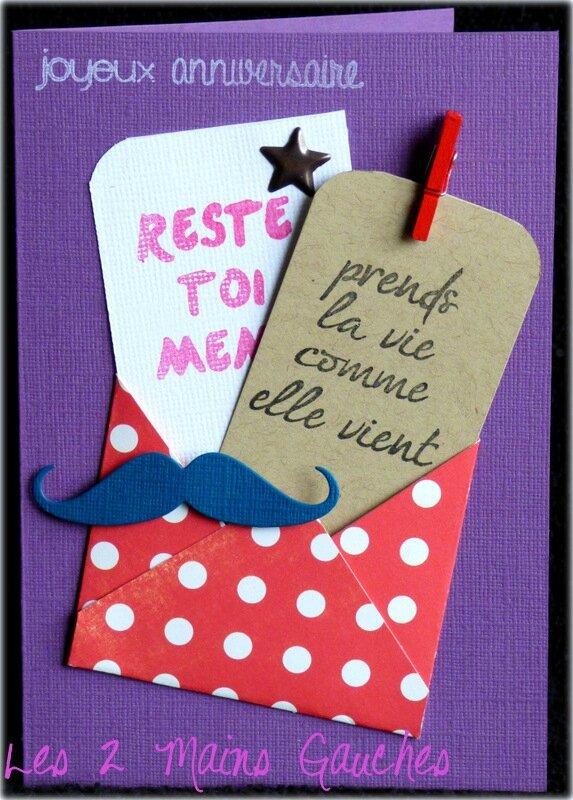 carte d'anniversaire ado avec enveloppe à pois et moustache
