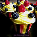 Cupcakes limoncello, framboises et myrtilles aux couleurs de la belgique (noir-jaune-rouge)