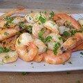 Crevettes sautées au persil